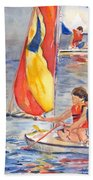 Sailboat Painting In Watercolor Bath Towel