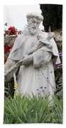 Saint Francis Statue In Carmel Mission Garden Bath Towel