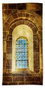 Saint Isidore - Romanesque Window With Stained Glass - Vintage Version Bath Towel