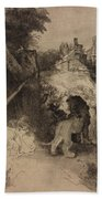 Saint Jerome In An Italian Landscape Bath Towel