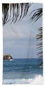 Saint Lucia Palm Tree Small Rock Caribbean Flowing Bath Towel