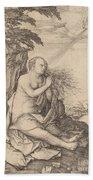 Saint Mary Magdalene In The Desert Bath Towel