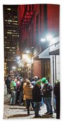 Saint Patrick's Day On Marshall Street Boston Ma Bath Towel