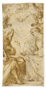 Saint Paul And Saint Stephen Crowned By Angels Bath Towel