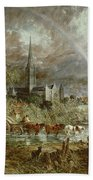 Salisbury Cathedral From The Meadows Hand Towel