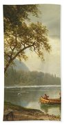 Salmon Fishing On The Caspapediac River Bath Towel by Albert Bierstadt