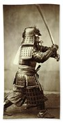 Samurai With Raised Sword Bath Towel
