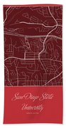 San Diego State Street Map - San Diego State University San Dieg Bath Towel