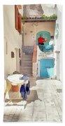 San Felice Circeo Man Puts On Clothes Bath Towel