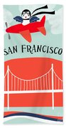San Francisco California Vertical Scene - Bird In Plane Over San Francisco Bath Towel