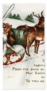 Santa And His Reindeer Greetings Merry Christmas Bath Towel