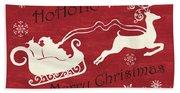 Santa And Reindeer Sleigh Hand Towel