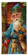 Santa Claus Ringing A Bell Bath Towel