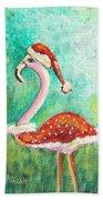 Santa Flamingo Hand Towel