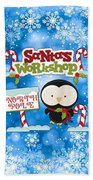 Santa's Workshop Penguin Bath Towel