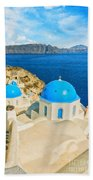 Santorini Oia Church Caldera View Digital Painting Bath Towel