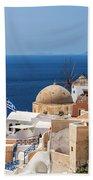 Santorini Windmill And Church Bath Towel