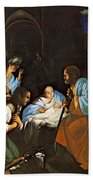 Saraceni Carlo The Birth Of Christ Bath Towel