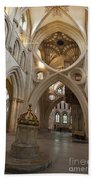 Saxon Baptismal Font Wells Cathedral, Somerset Uk Bath Towel