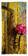 Saxophone And Roses On Wall Bath Towel