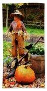 Scarecrow And Pumpkin Bath Towel