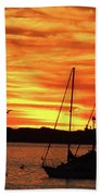 Scarlet Sunrise On Provincetown Pier 1  Bath Towel