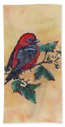 Scarlet Tanager - Acrylic Painting Bath Towel