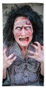 Scary Angry Zombie Woman Bath Towel