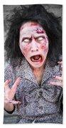 Scary Screaming Zombie Woman Bath Towel