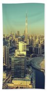 Scenic Aerial View Of Dubai Hand Towel
