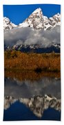 Scenic Teton Fall Reflections Bath Towel