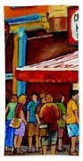 Schwartzs Lineup On St. Lawrence Montreal Streetscenes Bath Towel