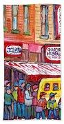 Schwartz's Smoked Meat Deli On The Main Montreal Hockey Art Scenes School Bus Painting C Spandau Art Bath Towel