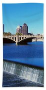 Scioto River With Waterfall Bath Towel