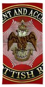 Scottish Rite Double-headed Eagle On Red Leather Bath Towel