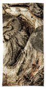 Screech Owl In Cavity Nest Bath Towel