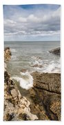 Sea Meets Rocks At Howick Bath Towel