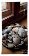Sea Shells And Stones On Windowsill Hand Towel
