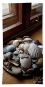 Sea Shells And Stones On Windowsill Bath Towel