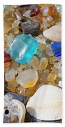 Sea Shells Art Prints Blue Seaglass Sea Glass Coastal Bath Towel