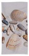 Sea Shells On White Sand Bath Towel