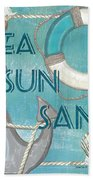 Sea Sun Sand Hand Towel by Debbie DeWitt