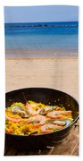 Seafood Paella In Cafe Bath Towel