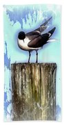 Seagull - Laughing Gull Pop Art  Bath Towel
