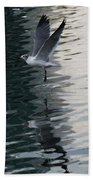 Seagull Reflection Over Blue Bay Bath Towel
