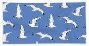 Seagulls Gathering At The Cricket Bath Towel