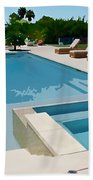 Seaside Swimming Pool As A Silk Screen Image Hand Towel