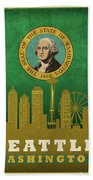 Seattle City Skyline State Flag Of Washington Art Poster Series 017 Bath Towel