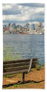 Seattle City Skyline View From Alki Beach Hand Towel