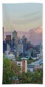 Seattle Washington City Skyline At Sunset Hand Towel